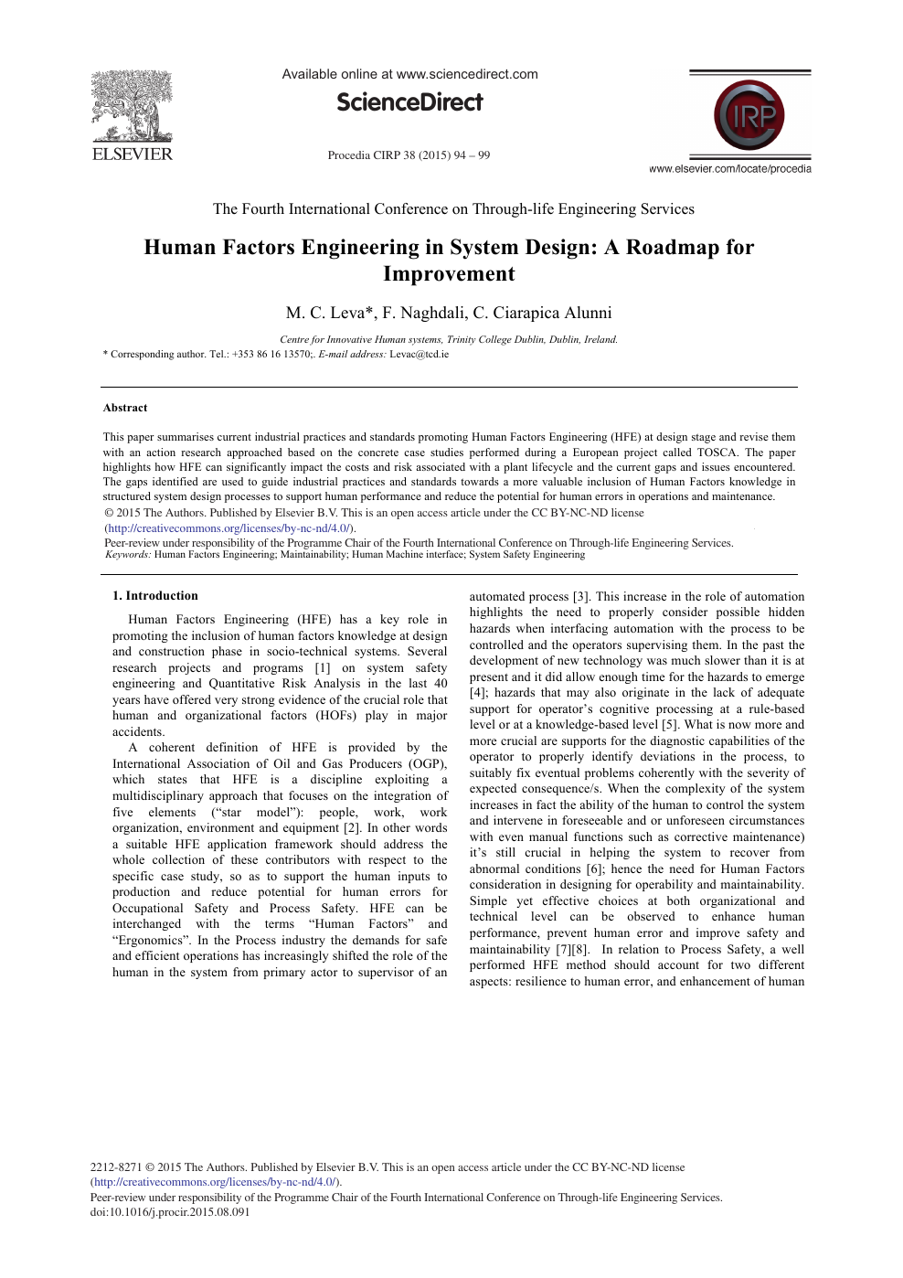 Human Factors Engineering In System Design A Roadmap For Improvement Topic Of Research Paper In Computer And Information Sciences Download Scholarly Article Pdf And Read For Free On Cyberleninka Open Science