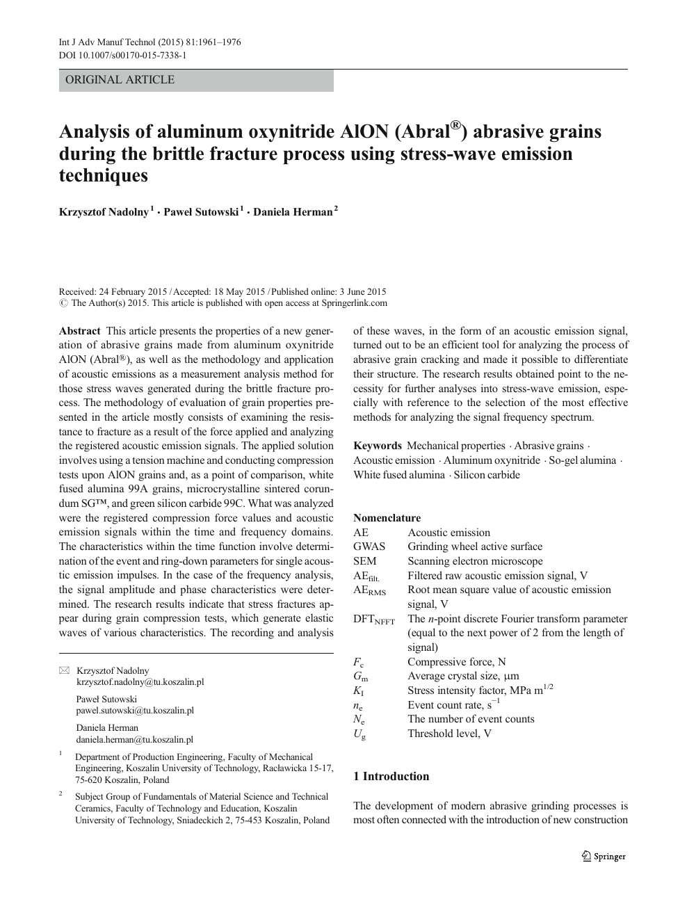 Analysis of aluminum oxynitride AlON (Abral®) abrasive grains during