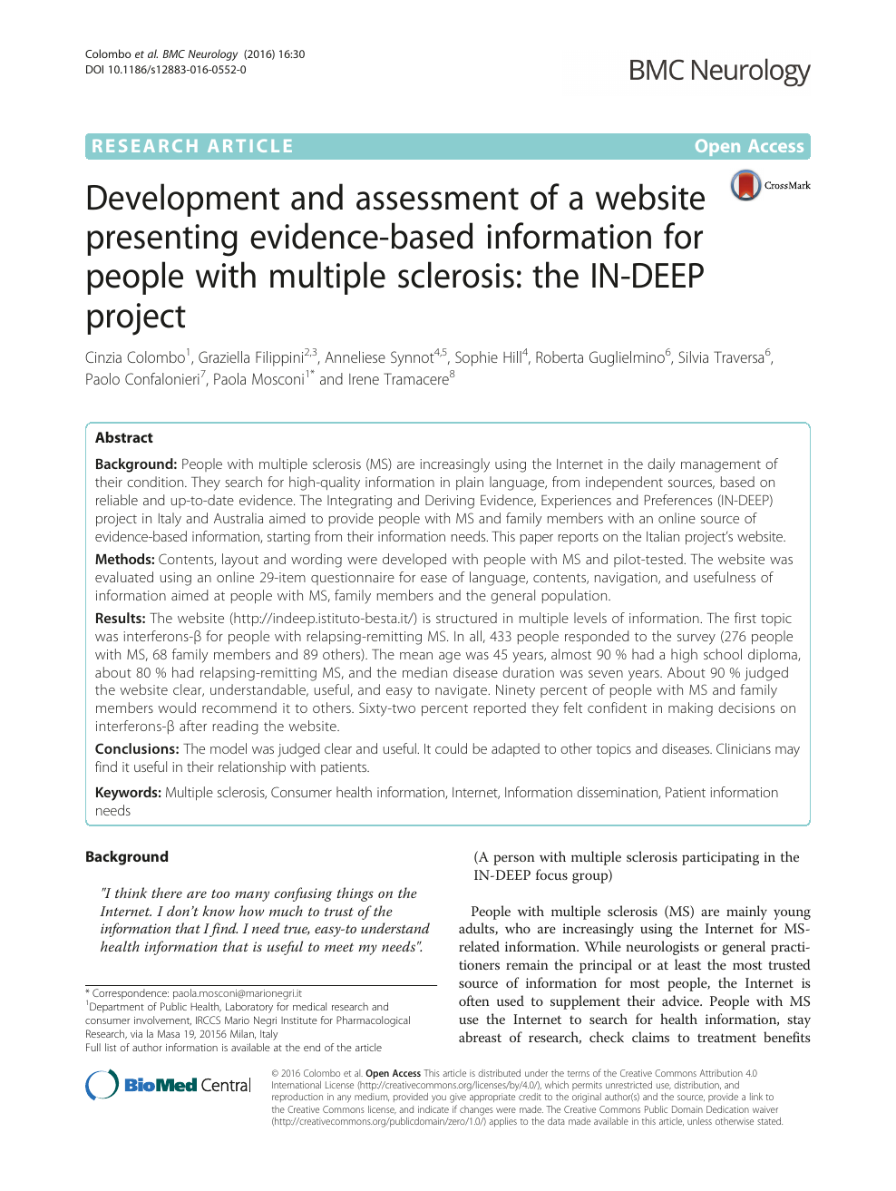 Development and assessment of a website presenting evidence