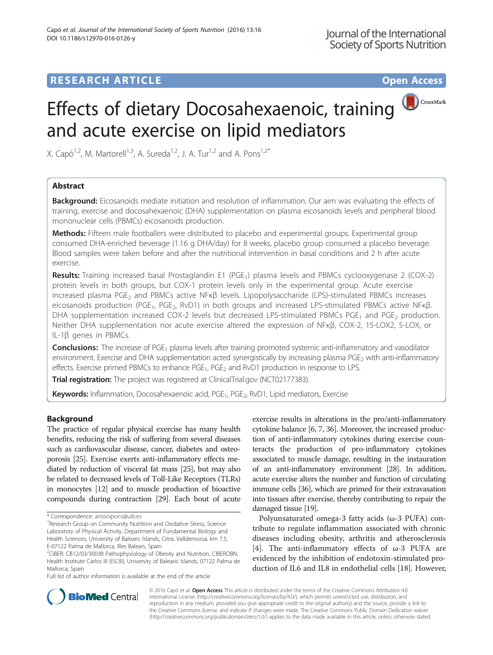 Effects of dietary Docosahexaenoic, training and acute