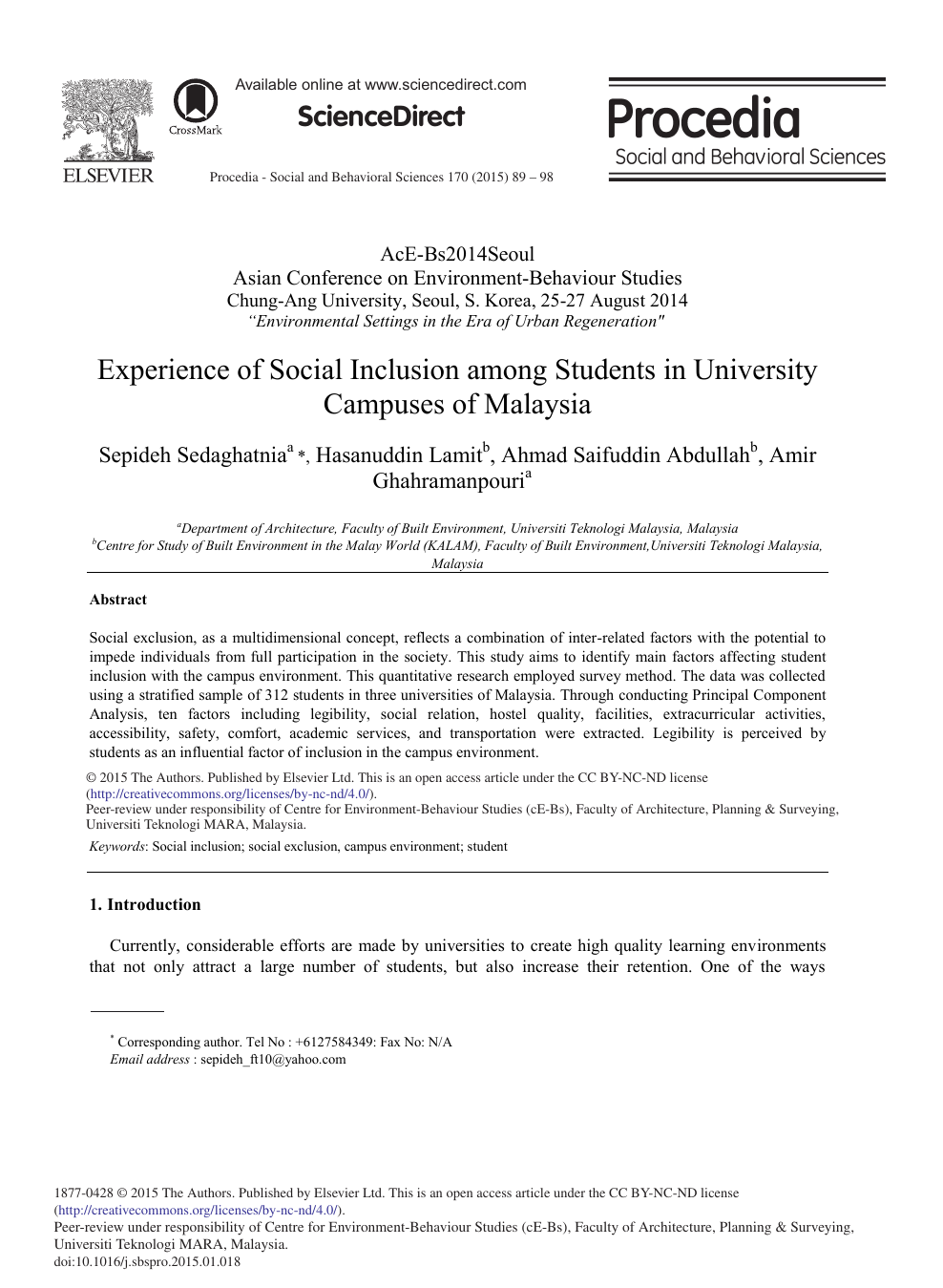 Experience of Social Inclusion among Students in University Campuses