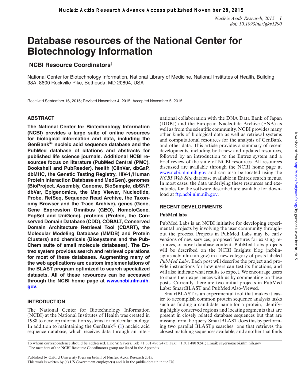 Database resources of the National Center for Biotechnology