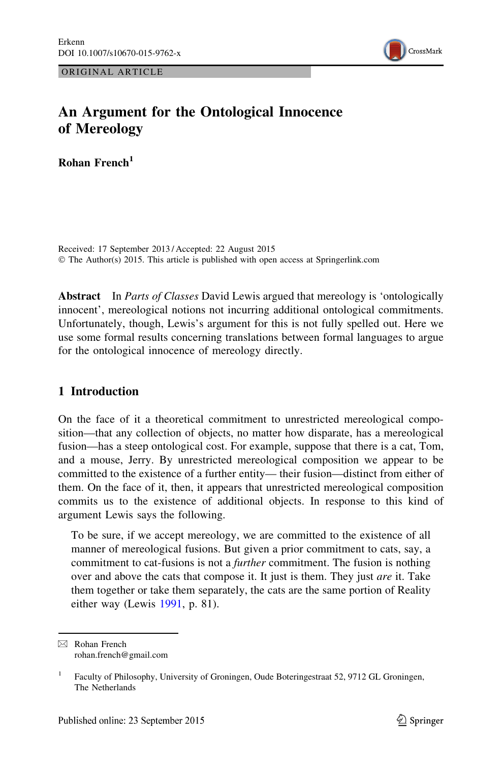 An Argument for the Ontological Innocence of Mereology – topic of ...