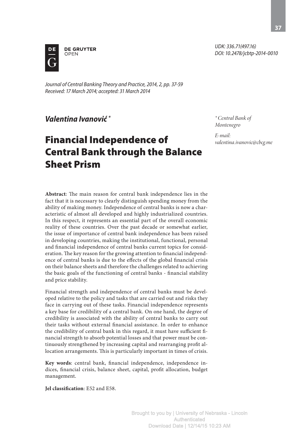 Financial Independence of Central Bank through the Balance
