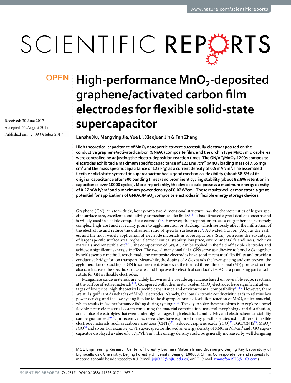 High-performance MnO2-deposited graphene/activated carbon film
