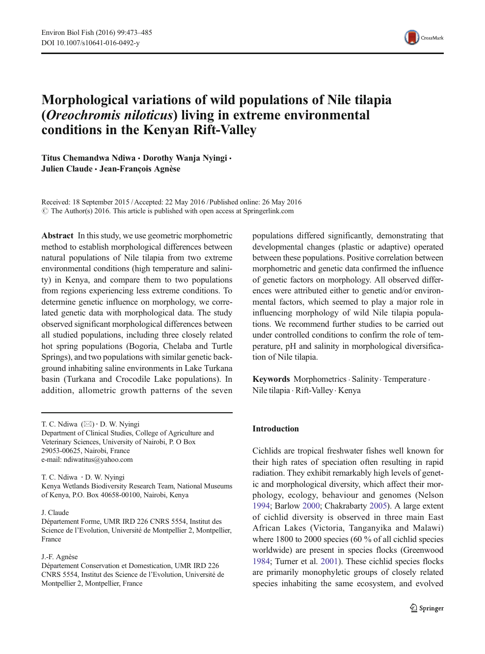 Morphological variations of wild populations of Nile tilapia