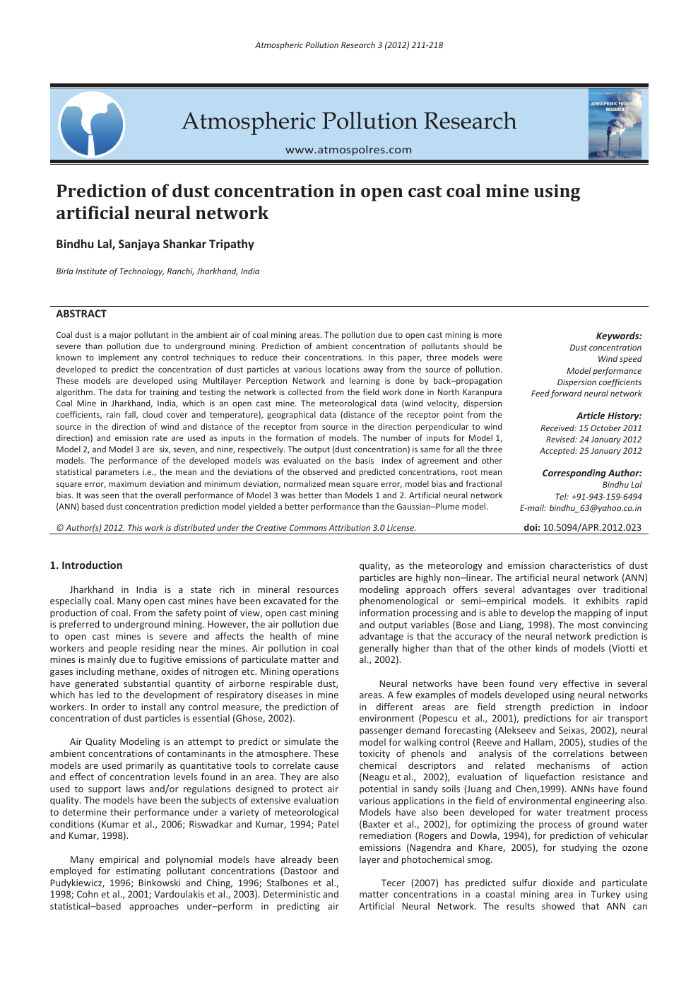 Prediction of dust concentration in open cast coal mine