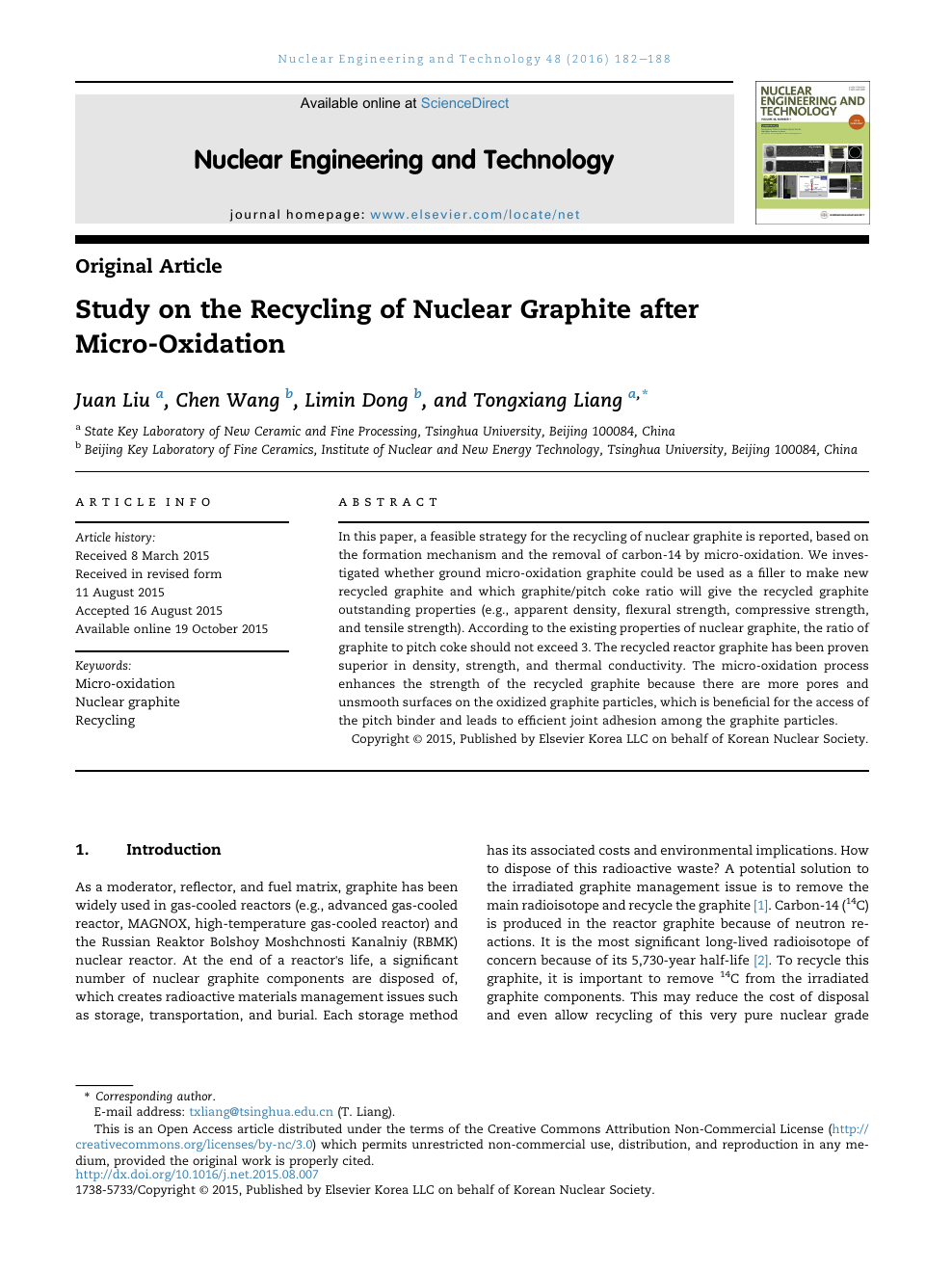 Study on the Recycling of Nuclear Graphite after Micro-Oxidation