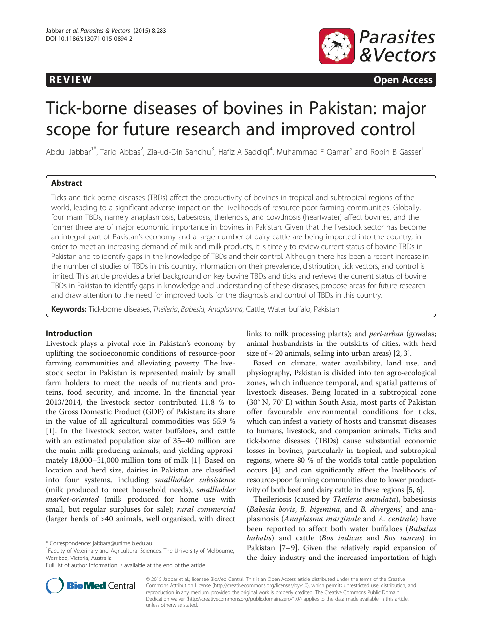 Tick-borne diseases of bovines in Pakistan: major scope for