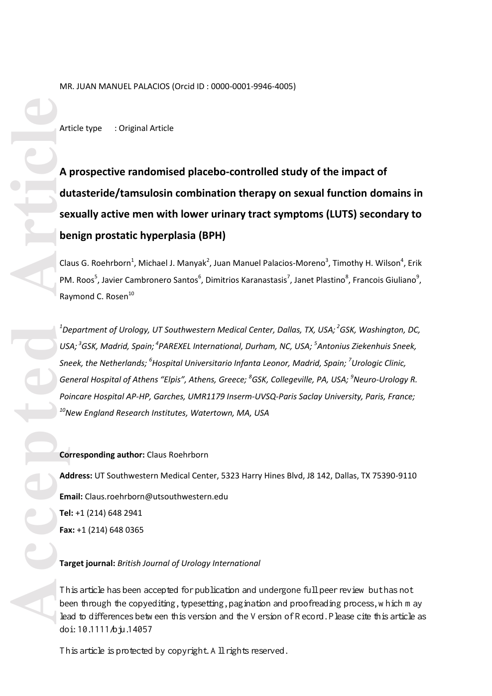 A Prospective Randomised Placebo Controlled Study Of The Impact Of Dutasteride Tamsulosin Combination Therapy On Sexual Function Domains In Sexually Active Men With Lower Urinary Tract Symptoms Luts Secondary To Benign Prostatic Hyperplasia Bph