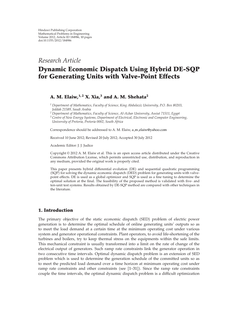 Dynamic Economic Dispatch Using Hybrid DE-SQP for Generating