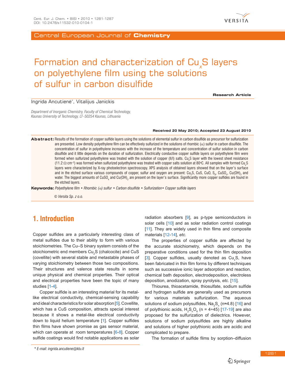 Formation and characterization of CuxS layers on