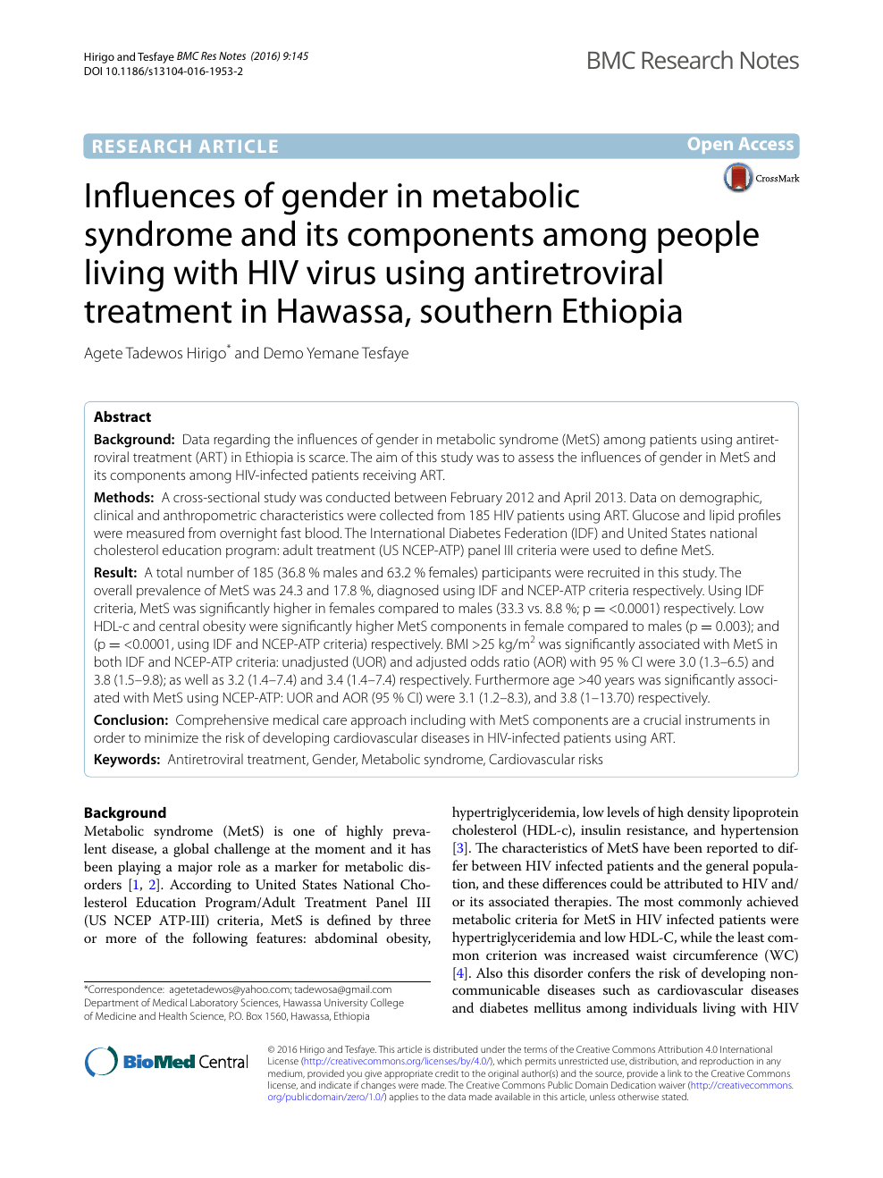 Influences of gender in metabolic syndrome and its