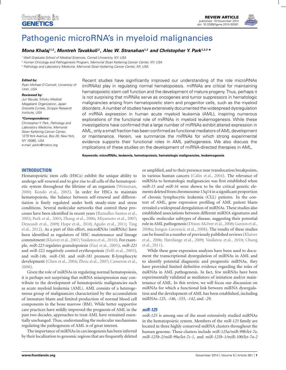 Pathogenic microRNA's in myeloid malignancies – topic of research