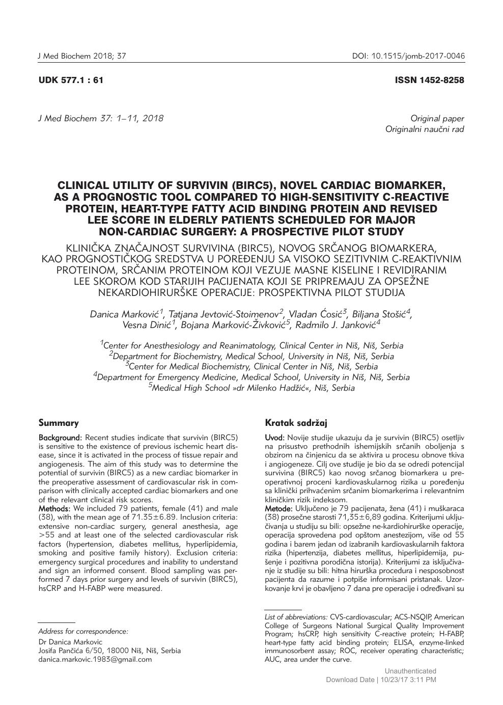 Clinical Utility of Survivin (BIRC5), Novel Cardiac