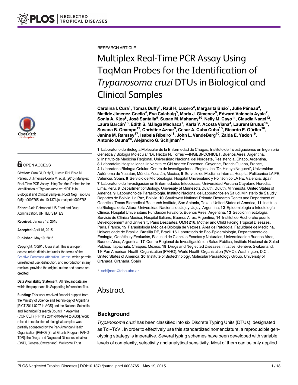 Multiplex Real-Time PCR Assay Using TaqMan Probes for the