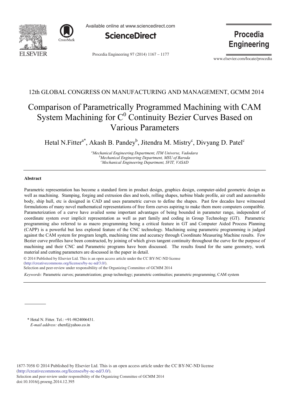 Comparison of Parametrically Programmed Machining with CAM System
