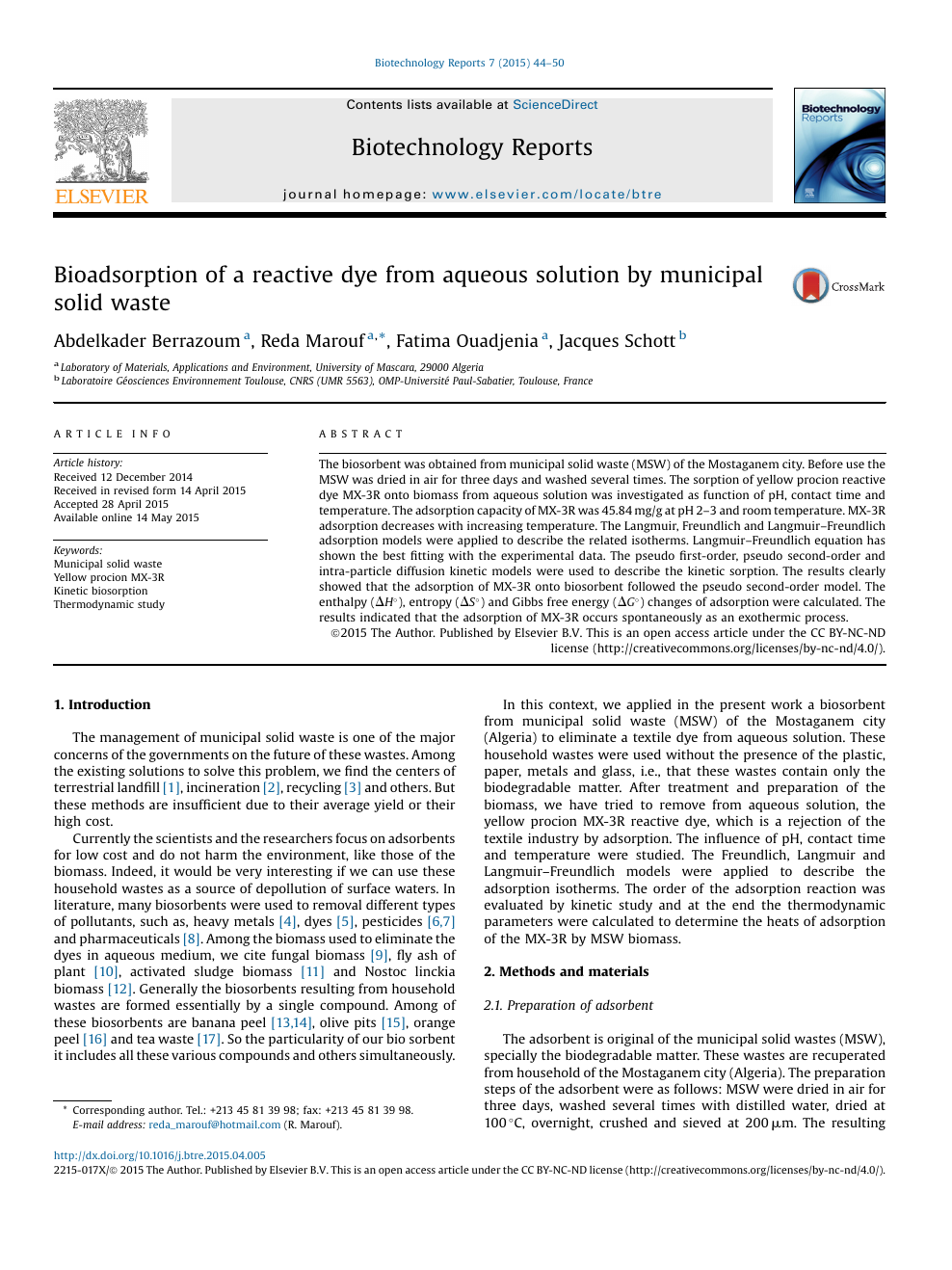 Bioadsorption of a reactive dye from aqueous solution by