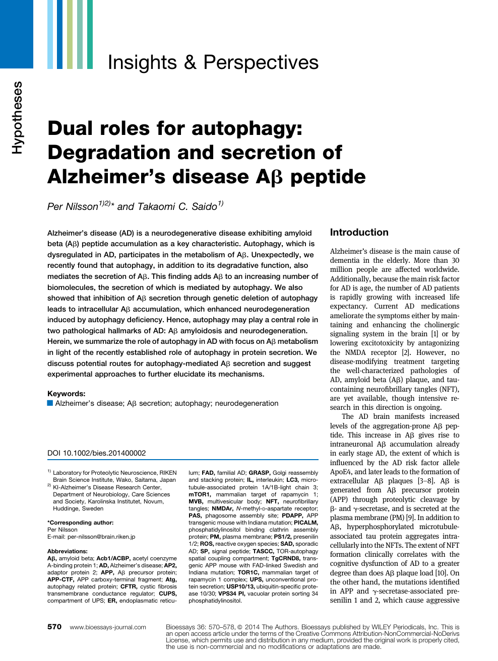Dual Roles For Autophagy Degradation And Secretion Of Alzheimer S