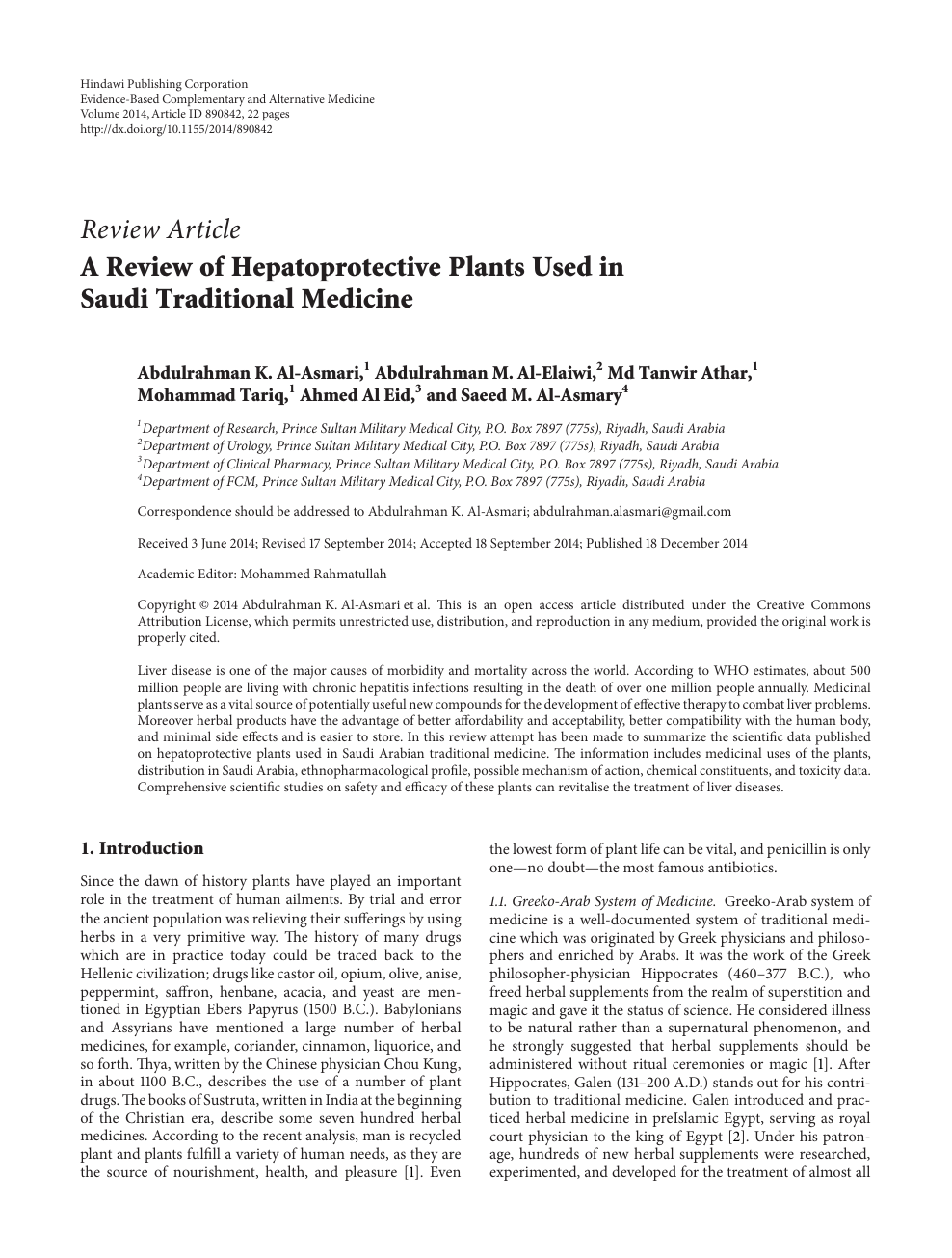 A Review of Hepatoprotective Plants Used in Saudi