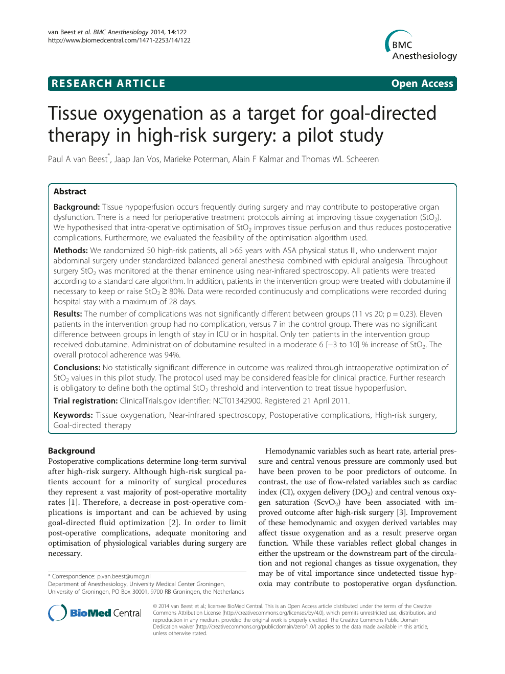 Tissue oxygenation as a target for goal-directed therapy in high