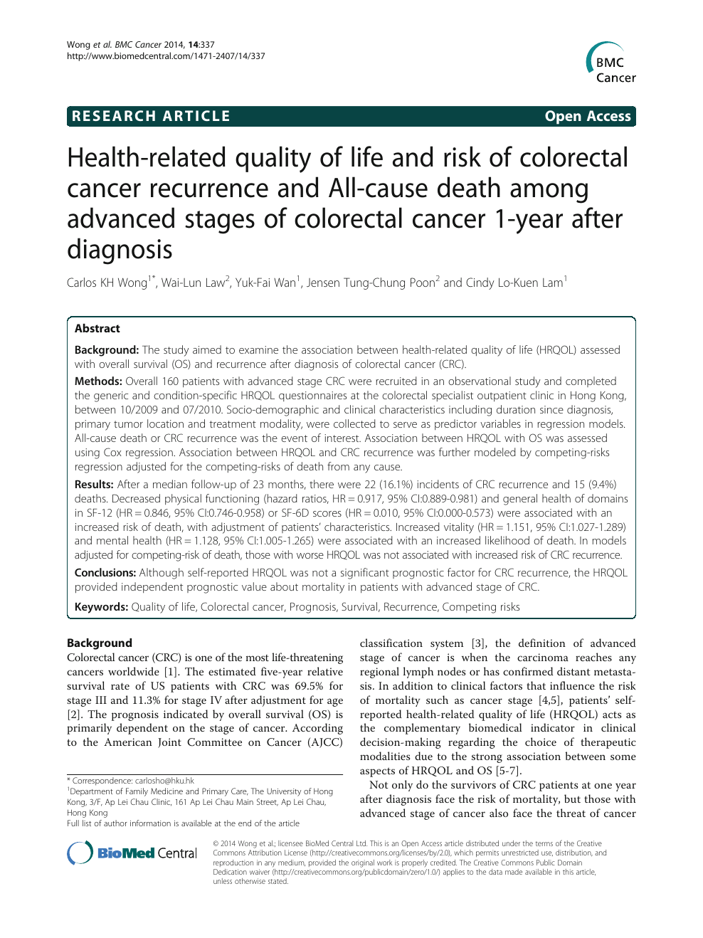 Health Related Quality Of Life And Risk Of Colorectal Cancer Recurrence And All Cause Death Among Advanced Stages Of Colorectal Cancer 1 Year After Diagnosis Topic Of Research Paper In Health Sciences Download Scholarly
