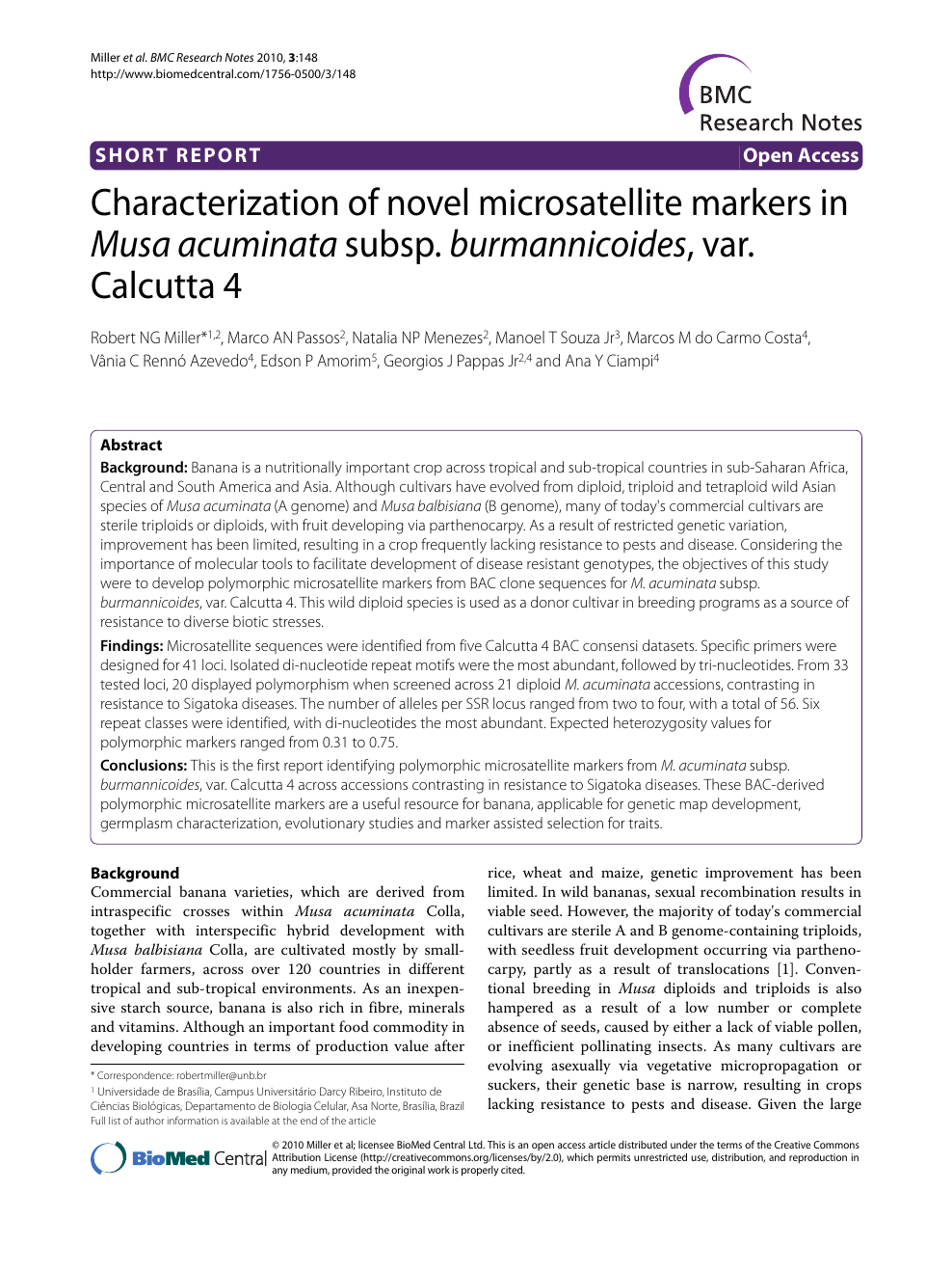 Characterization of novel microsatellite markers in Musa