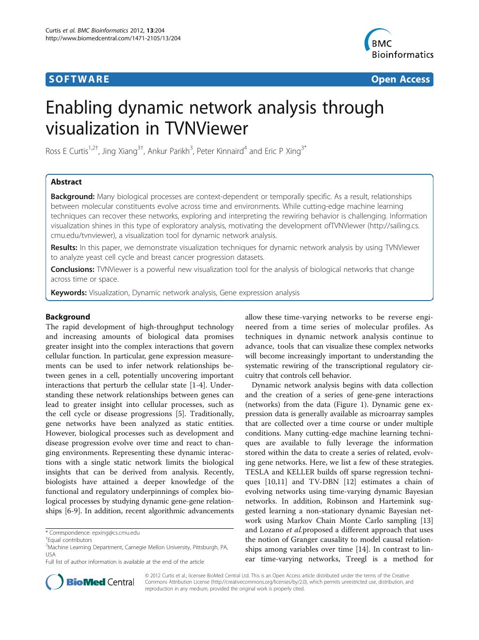 Enabling dynamic network analysis through visualization in