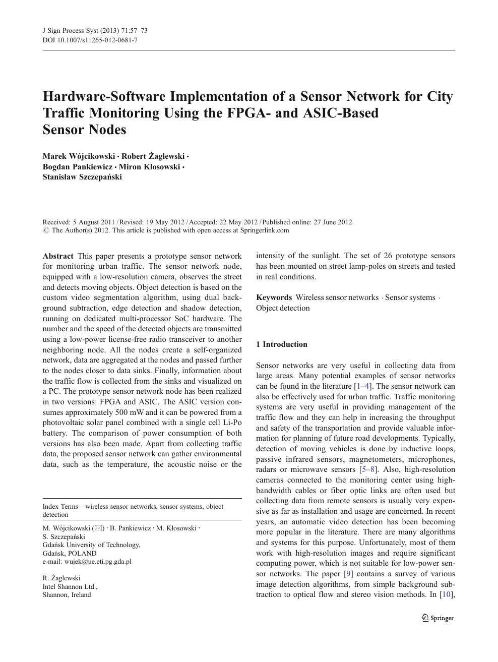 Hardware-Software Implementation of a Sensor Network for City
