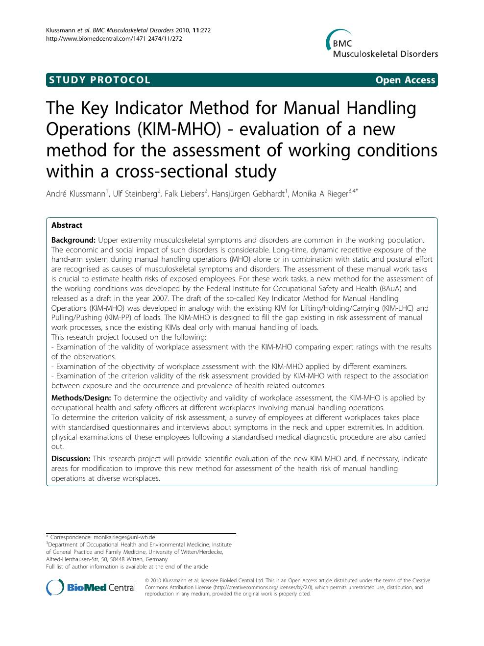 The Key Indicator Method for Manual Handling Operations (KIM