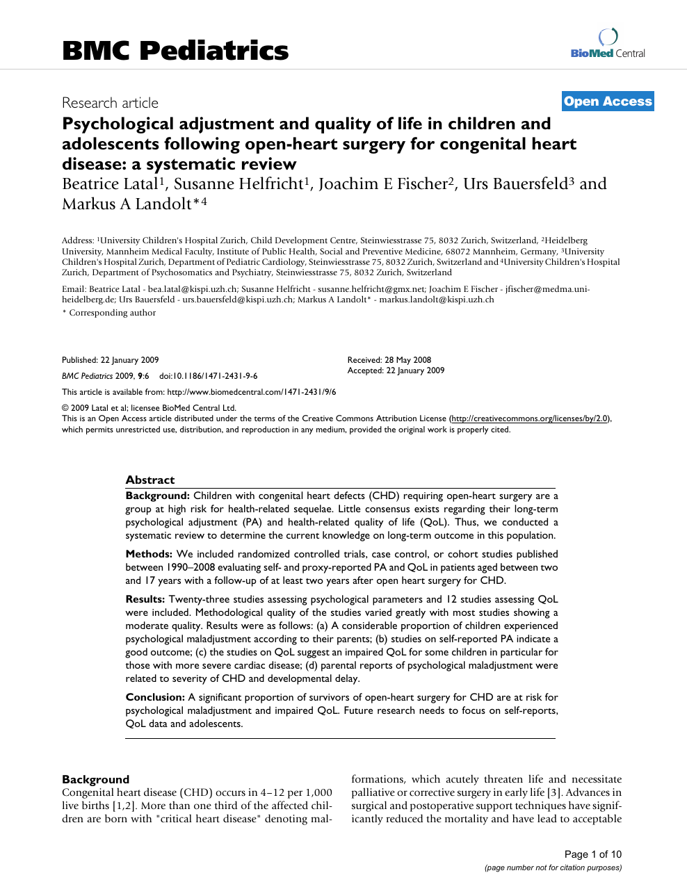 Psychological adjustment and quality of life in children and adolescents  following open-heart surgery for congenital heart disease: a systematic  review – topic of research paper in Psychology. Download scholarly article  PDF and