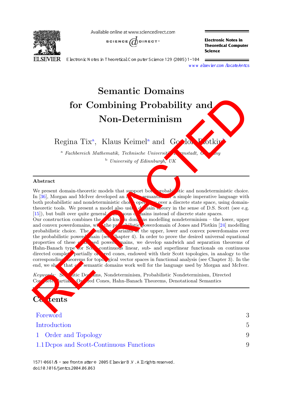 RETRACTED: Semantic Domains for Combining Probability and