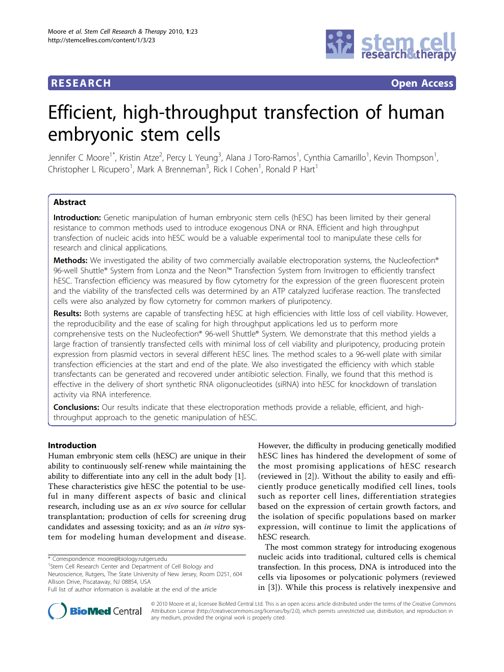 Efficient, high-throughput transfection of human embryonic stem cells –  topic of research paper in Biological sciences. Download scholarly article  PDF and read for free on CyberLeninka open science hub.