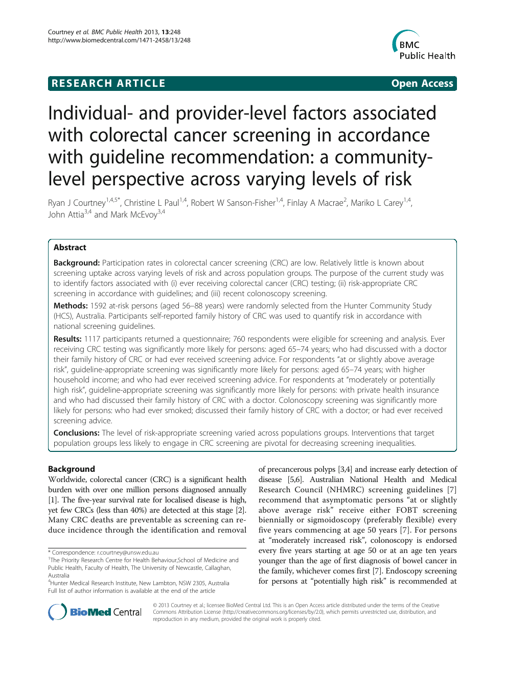 Individual And Provider Level Factors Associated With Colorectal Cancer Screening In Accordance With Guideline Recommendation A Community Level Perspective Across Varying Levels Of Risk Topic Of Research Paper In Biological Sciences Download Scholarly