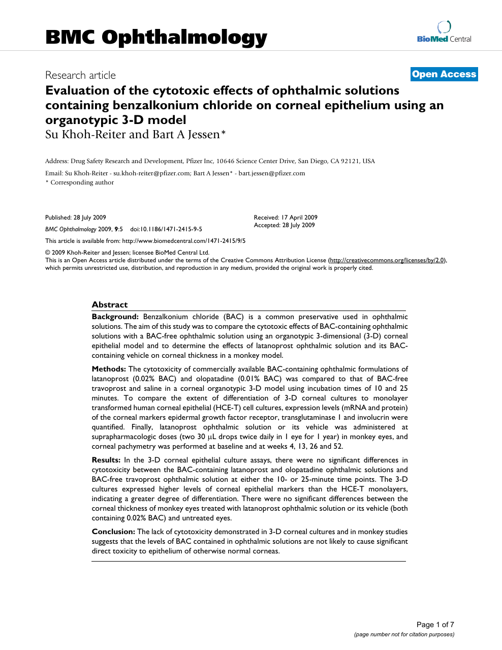 Evaluation of the cytotoxic effects of ophthalmic solutions