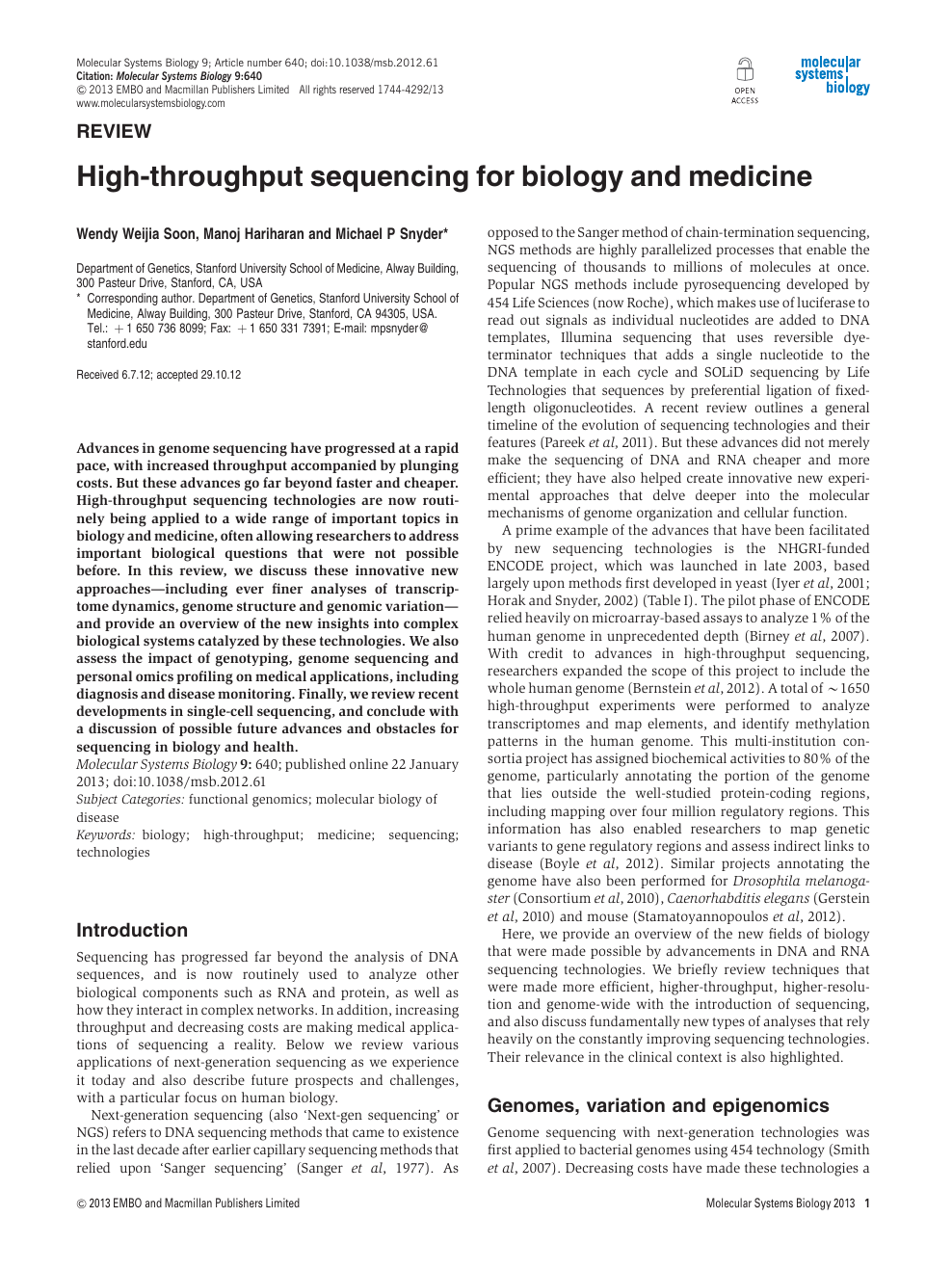 High-throughput sequencing for biology and medicine – topic of