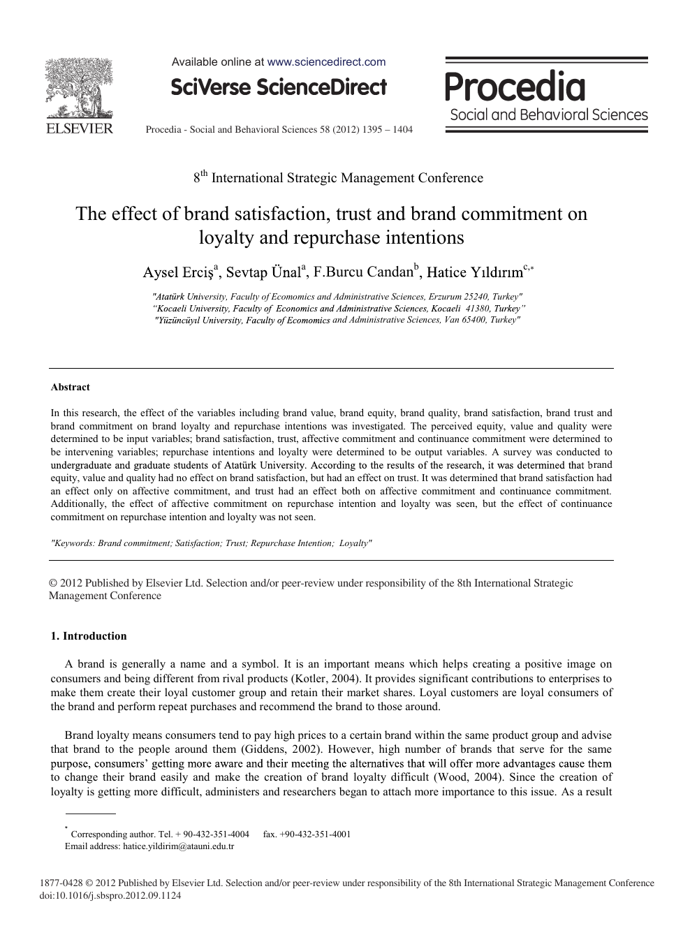 The Effect Of Brand Satisfaction Trust And Brand Commitment On