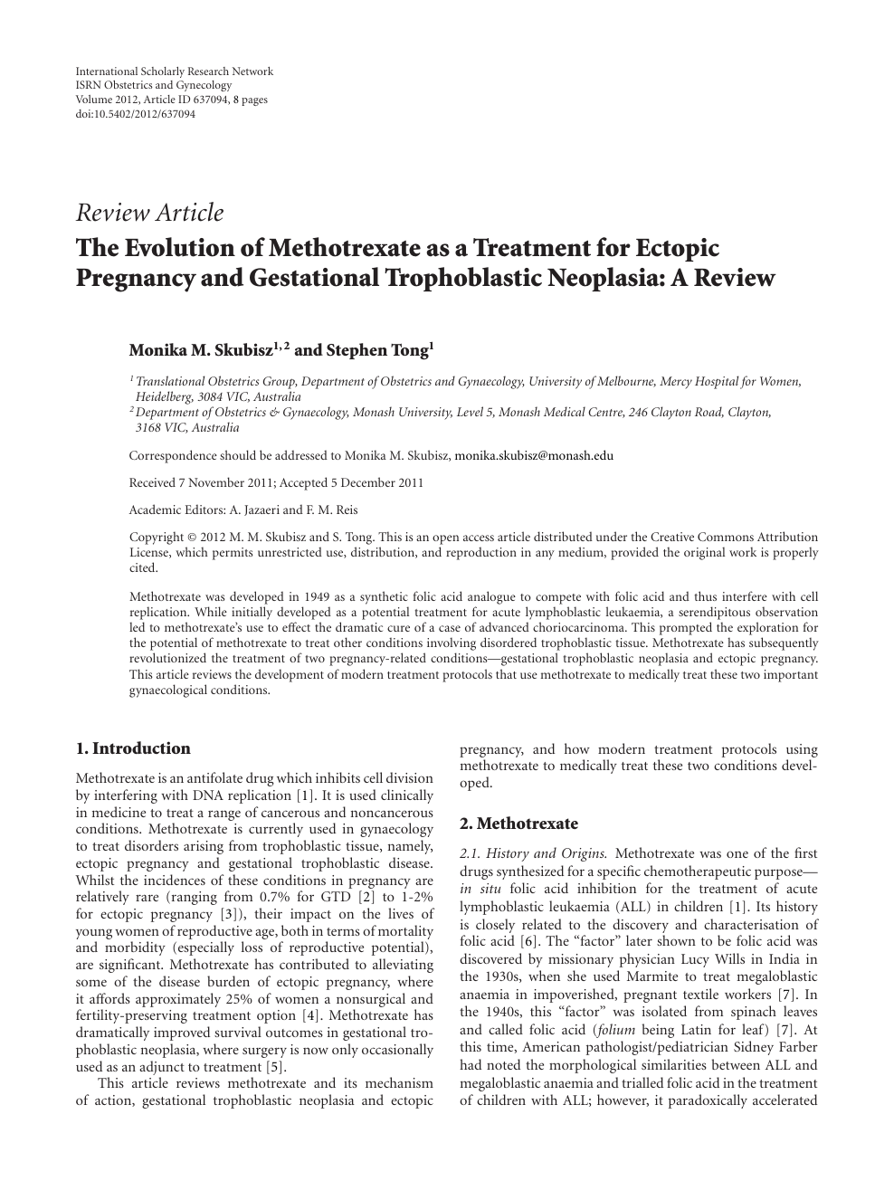 The Evolution of Methotrexate as a Treatment for Ectopic
