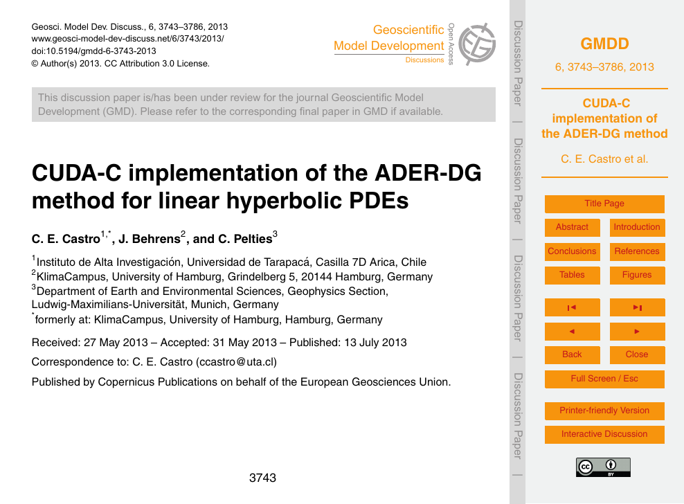 CUDA-C implementation of the ADER-DG method for linear