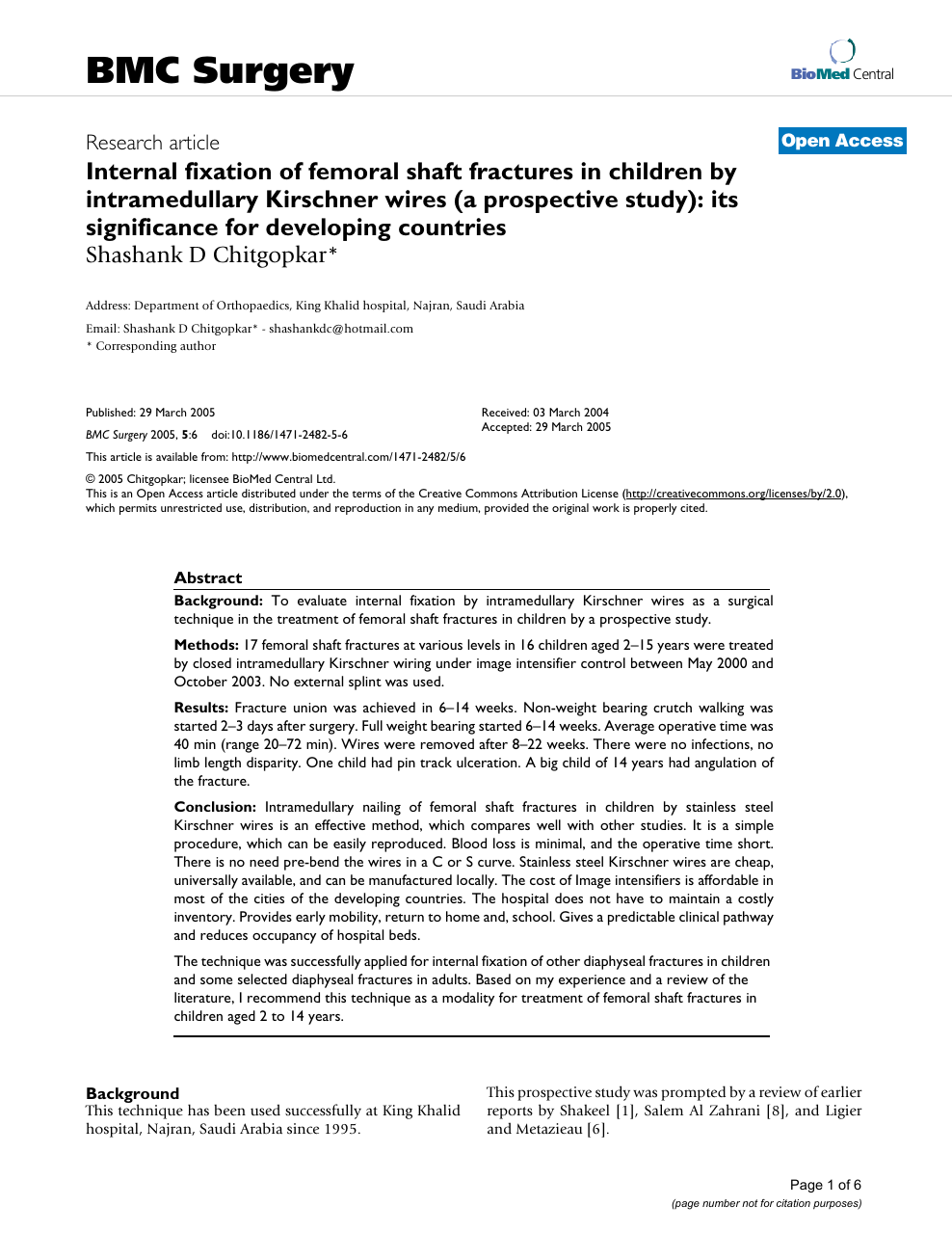 Internal fixation of femoral shaft fractures in children by