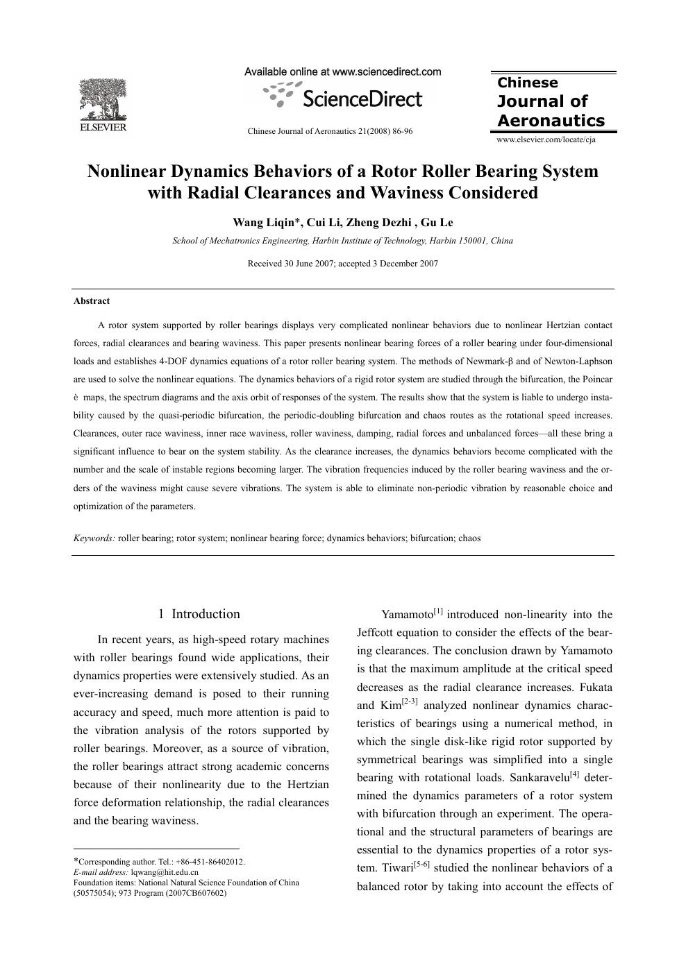 Nonlinear Dynamics Behaviors of a Rotor Roller Bearing