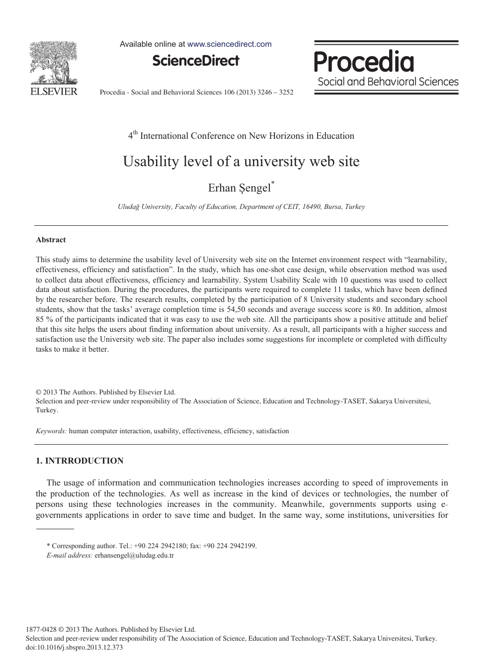 Usability Level of a University Web Site – topic of research