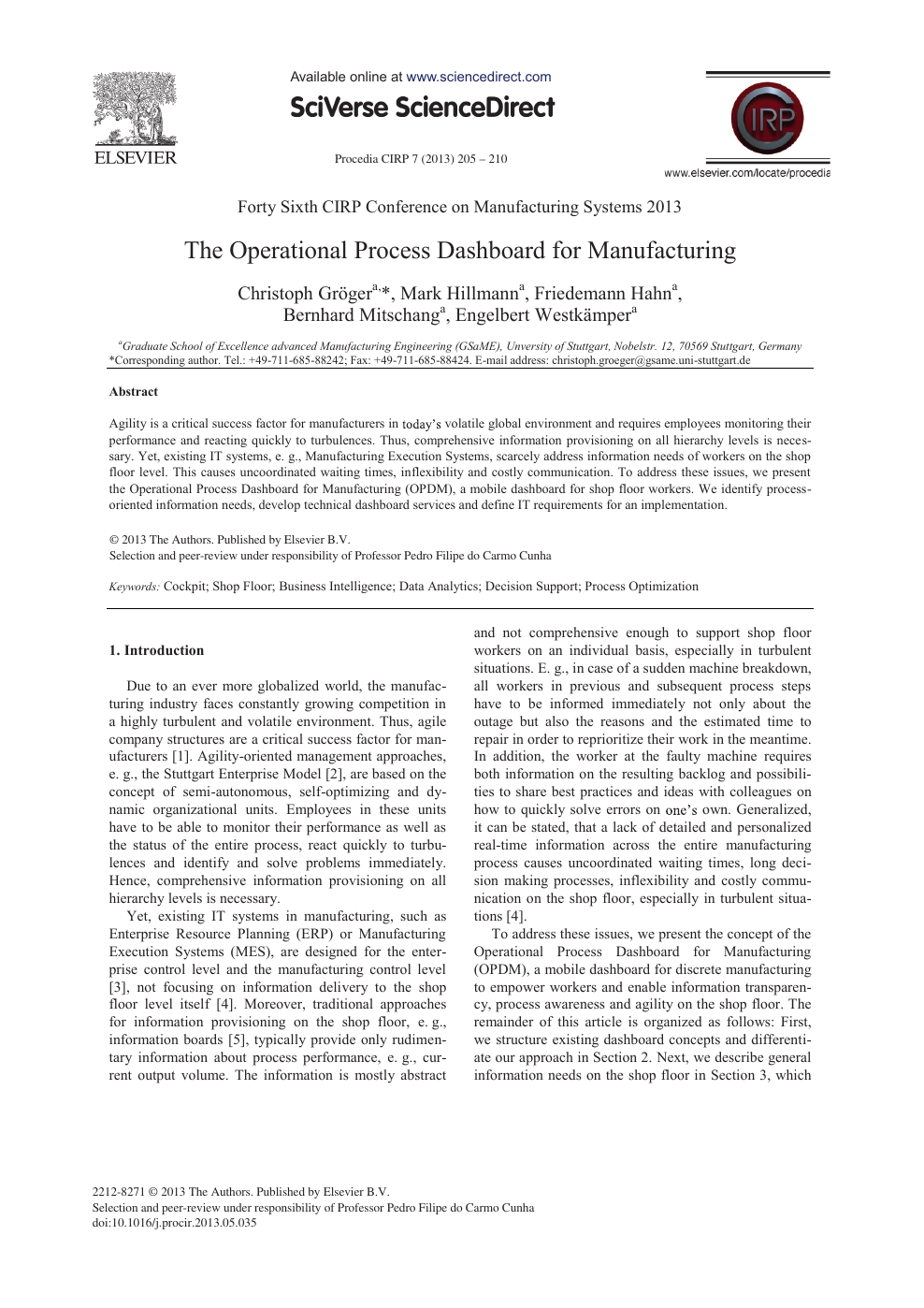 The Operational Process Dashboard for Manufacturing – topic