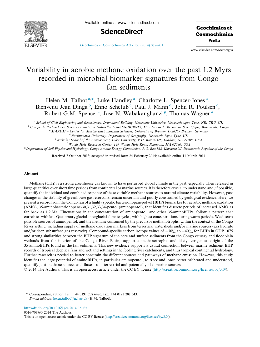 foto de Variability in aerobic methane oxidation over the past 1.2Myrs ...