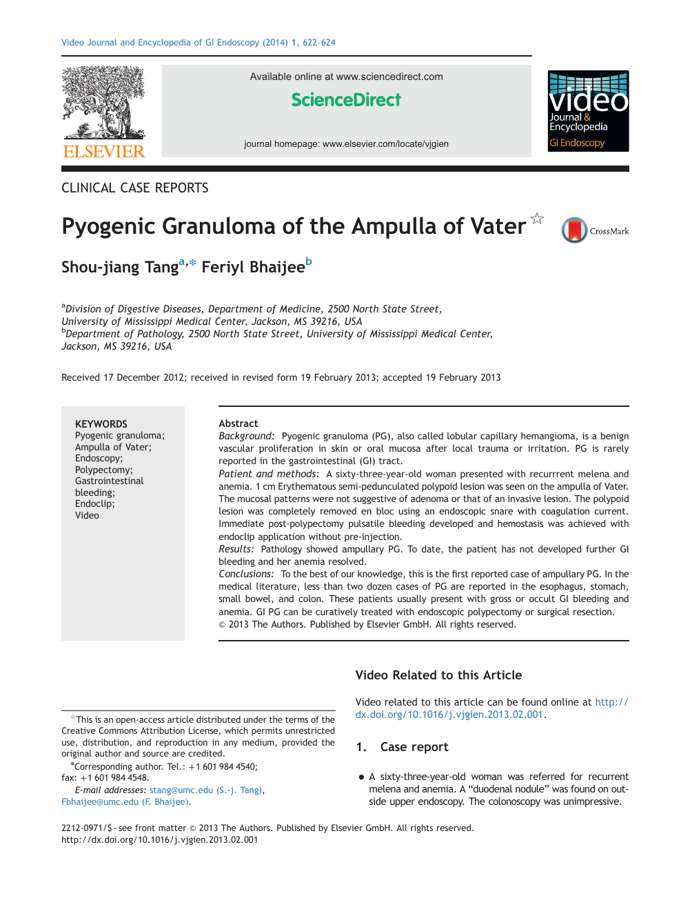 Pyogenic Granuloma of the Ampulla of Vater – topic of