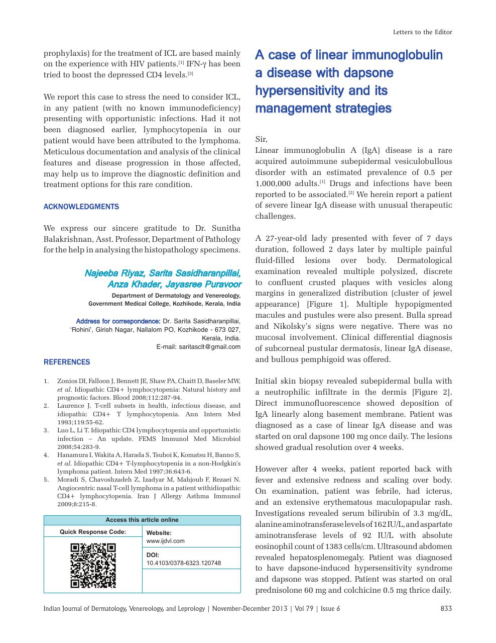A case of linear immunoglobulin A disease with dapsone
