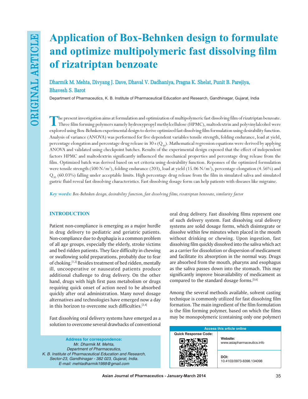 Application Of Box Behnken Design To Formulate And Optimize Multipolymeric Fast Dissolving Film Of Rizatriptan Benzoate Topic Of Research Paper In Nano Technology Download Scholarly Article Pdf And Read For Free On Cyberleninka