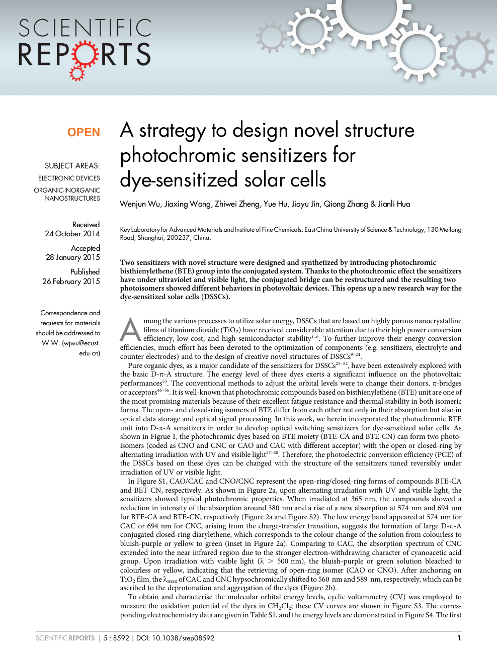 A strategy to design novel structure photochromic sensitizers for
