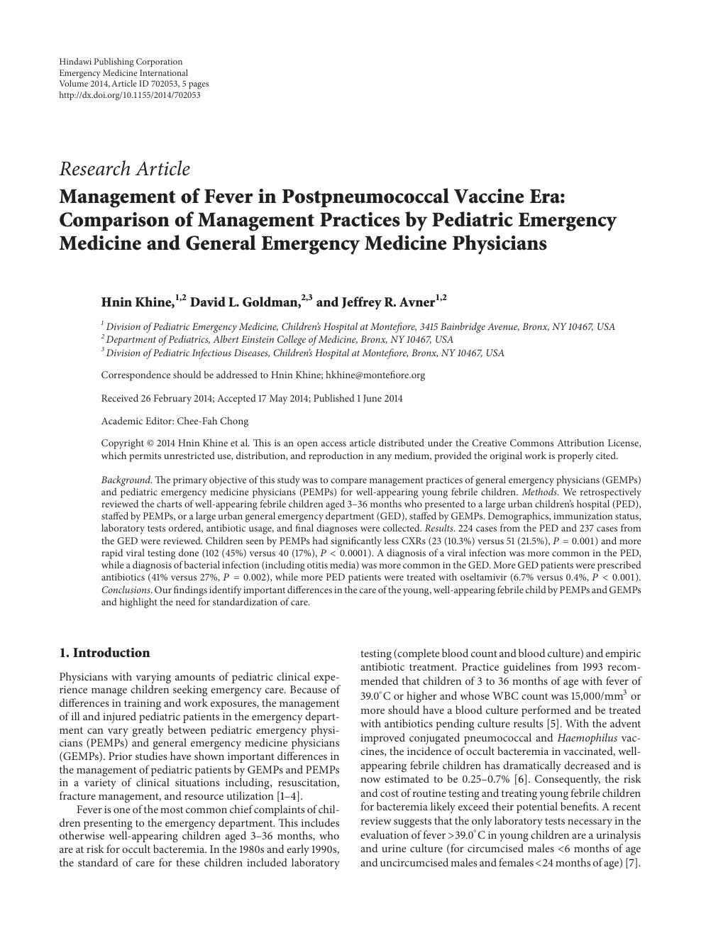 Management of Fever in Postpneumococcal Vaccine Era: Comparison of