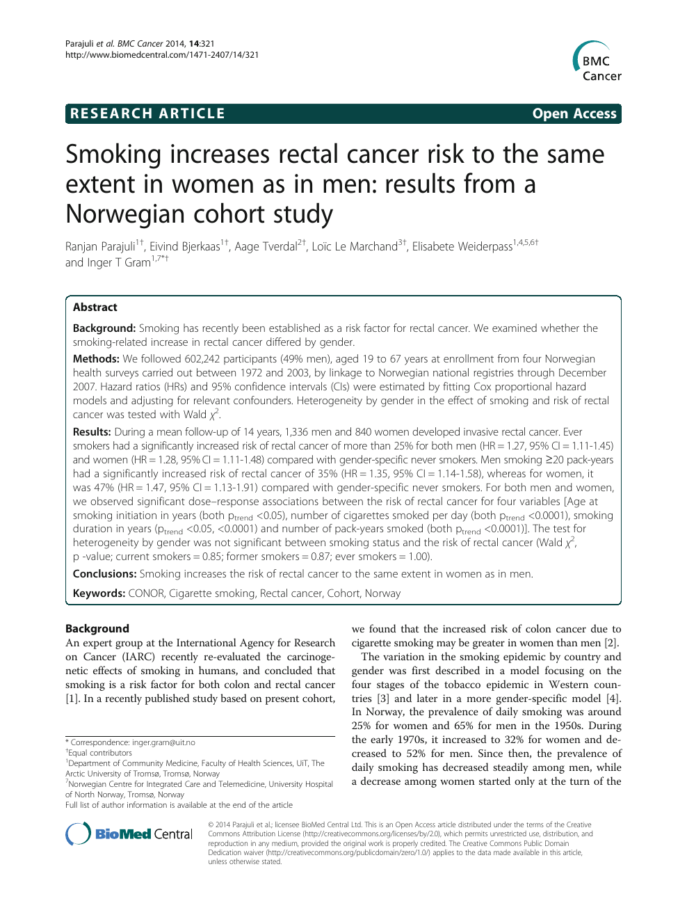 Smoking Increases Rectal Cancer Risk To The Same Extent In Women As In Men Results From A Norwegian Cohort Study Topic Of Research Paper In Health Sciences Download Scholarly Article Pdf